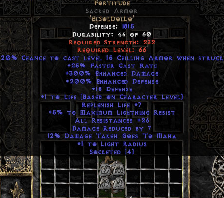 Fortitude Sacred Armor - Eth Bugged - 25-29 Res & 1-1.375 Life