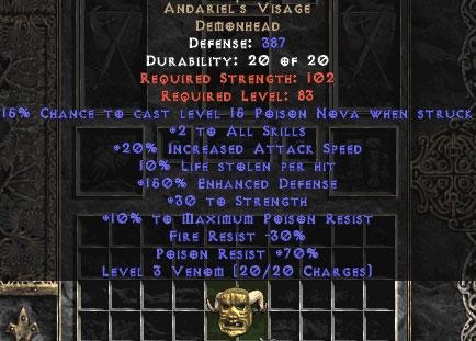 Andariel's Visage - 10% LL