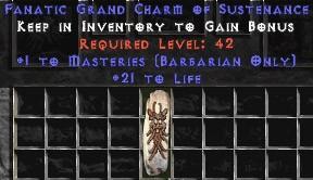 Barbarian Combat Masteries w/ 21-29 Life GC