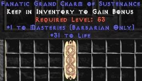 Barbarian Combat Masteries w/ 31-35 Life GC