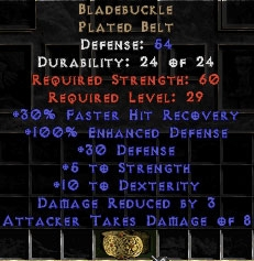 Bladebuckle - 54 Def, +100% ED - Perfect