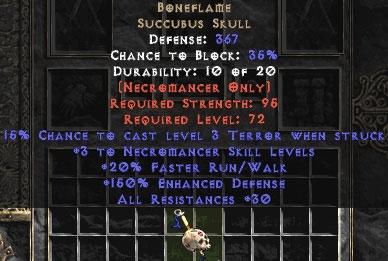 Boneflame +3 skill & 30res