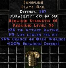 Boneflesh - 257 Def, +120% ED - Perfect