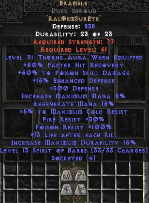 Bramble Dusk Shroud 15%ed +50% PSD & 21 Thorns - Perfect