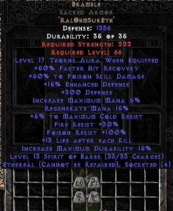 Bramble Sacred Armor - Ethereal - +50% PSD