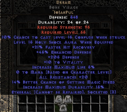 Dream Bone Visage 15%ed - Ethereal - 20 Resist All/20-29% FHR/12-24% MF/200-219 Def