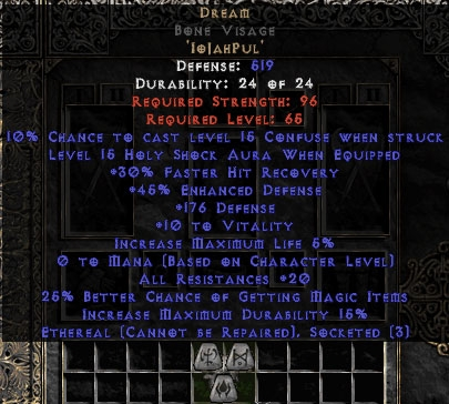 Dream Bone Visage 15%ed - Ethereal - 20 Resist All/30% FHR/25% MF/150-199 Def