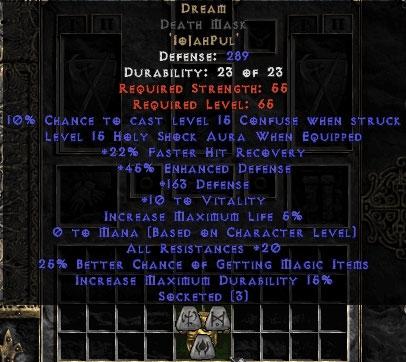 Dream Death Mask 15%ed - 20 Resist All/20-29% FHR/25% MF/150-199 Def