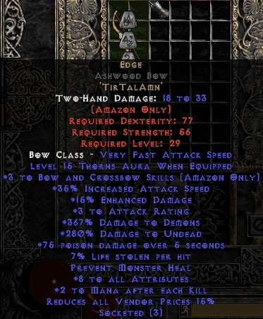 Edge Ashwood Bow - 3 B&C - 320-379% DD & 5-9 All Stats