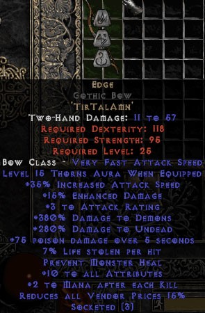 Edge Gothic Bow - 380% DD & 10 All Stats - Perfect