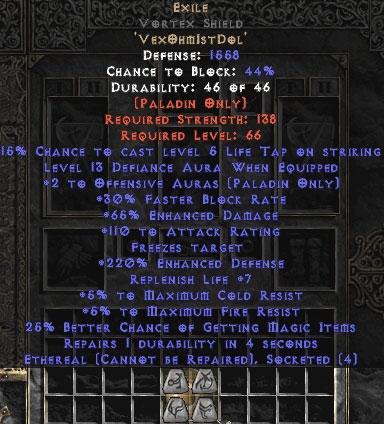 Exile Vortex Shield - Eth Bugged - 65% ED/121 AR - 220-239% EDef