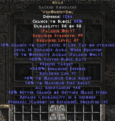 Exile Sacred Rondache - Eth Bugged - 45 Res All - 240-259% ED