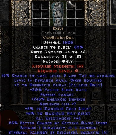 Exile Zakarum Shield - Eth Bugged - 45 Res All - 240-259% ED/13-16 Defiance