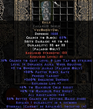 Exile Zakarum Shield - Eth Bugged - 45 Res All - 260% ED/13-15 Defiance