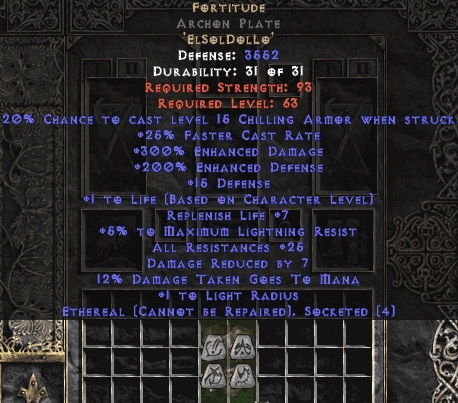 Fortitude Archon Plate - Eth Bugged - 25-29 Res & 1-1.375 Life