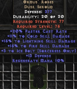 Ormus' Robes +15% to fire and lightning skills