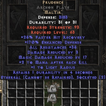 Prudence Archon Plate - Eth Bugged - 170% & 35 Res - Perfect