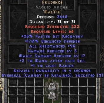 Prudence Sacred Armor - Eth Bugged - 170% & 25-34 Res